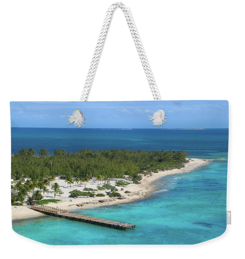 Half Moon Cay Weekender Tote Bag featuring the photograph Half Moon Cay by Debra Farrey