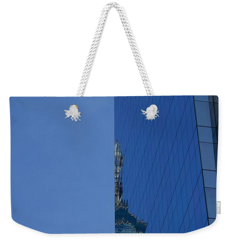 Landscape Weekender Tote Bag featuring the photograph Half Moon Half Skyscrapers by Clay Cofer