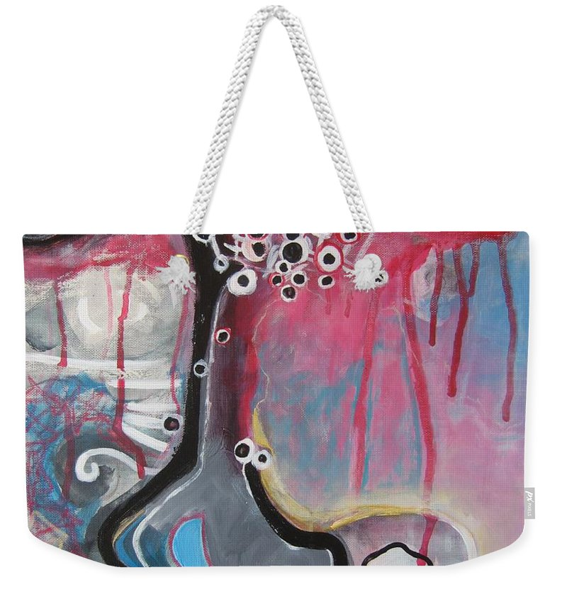 Abstract Paintings Weekender Tote Bag featuring the painting Half Moon On Vase by Seon-Jeong Kim