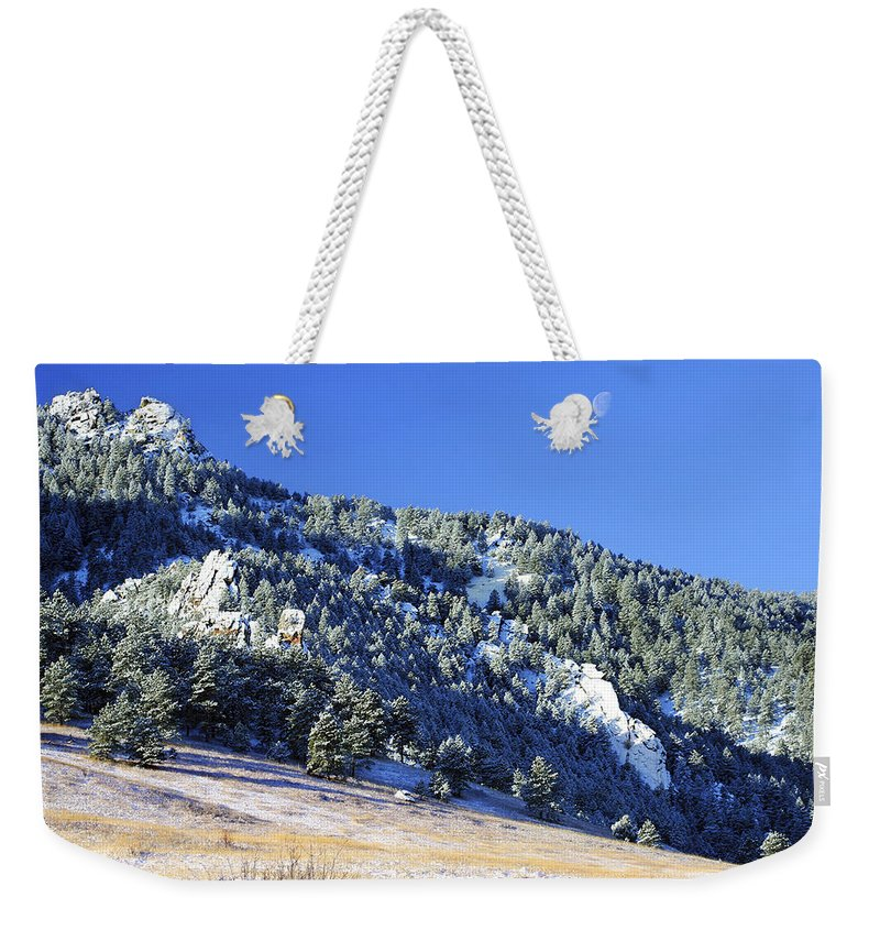 Nature Weekender Tote Bag featuring the photograph Half Moon Over The Flatirons by Marilyn Hunt