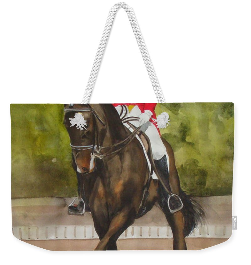 Horse Weekender Tote Bag featuring the painting Half-pass To The Right by Jean Blackmer