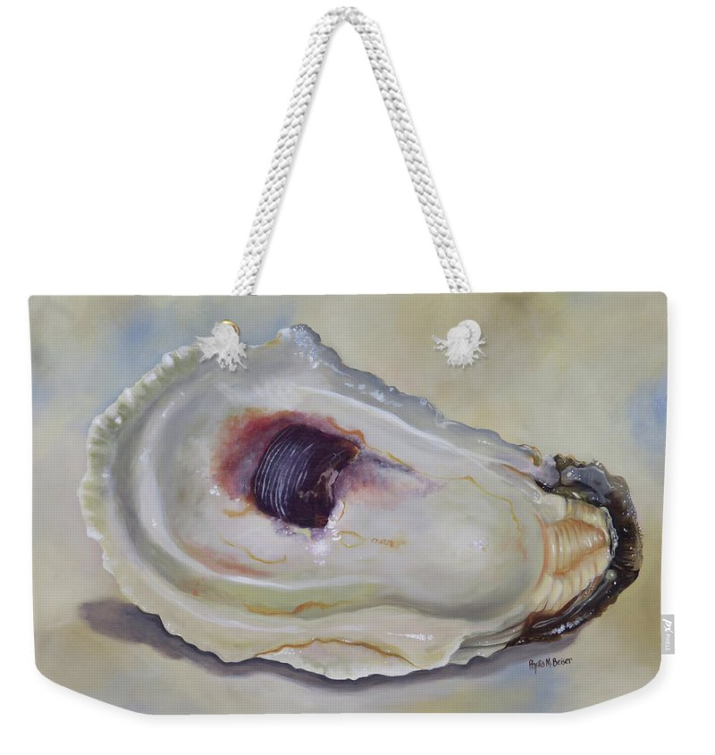Oyster Shell Weekender Tote Bag featuring the painting Half Shell by Phyllis Beiser