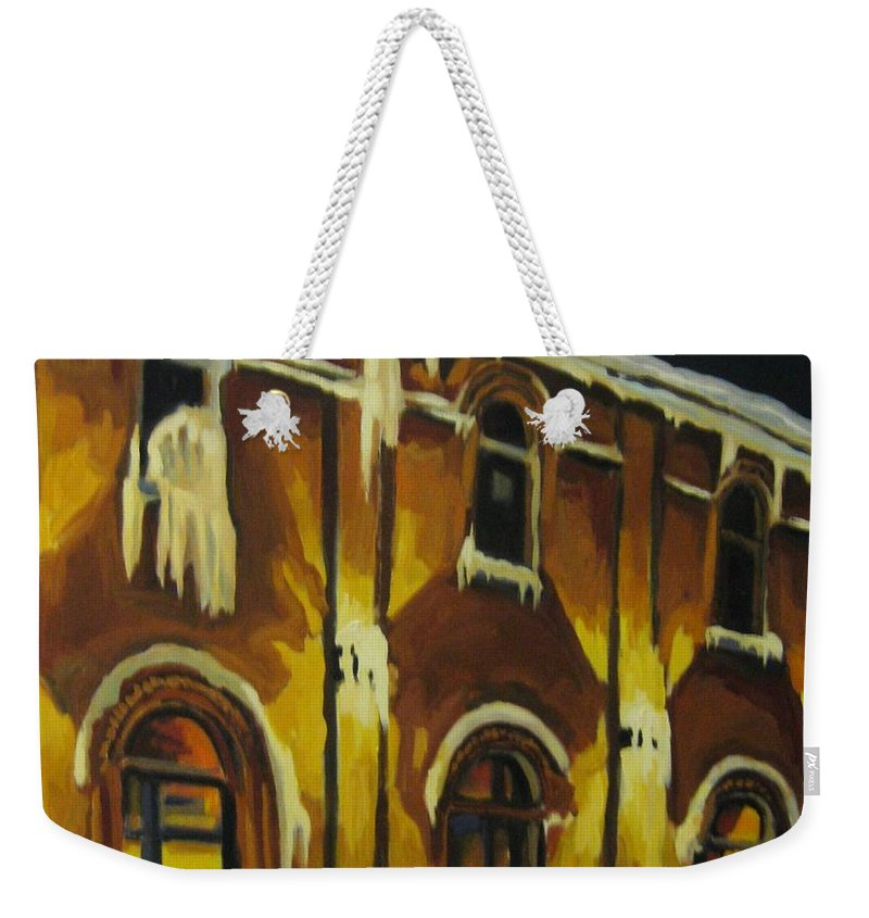 Urban Landscapes Weekender Tote Bag featuring the painting Halifax Ale House In Ice by John Malone