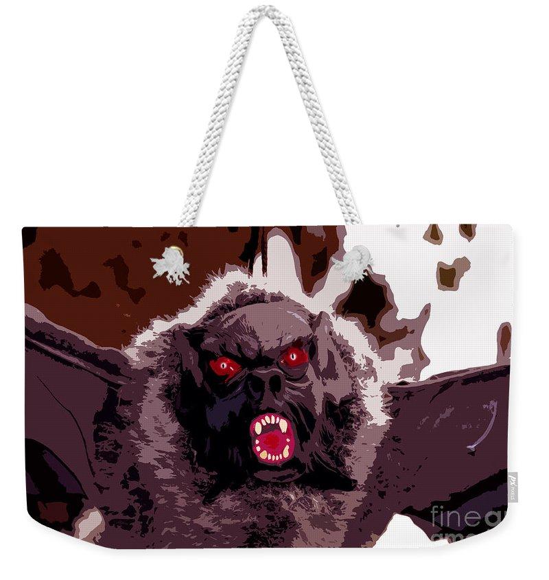 Halloween Weekender Tote Bag featuring the digital art Halloween Bat by David Lee Thompson