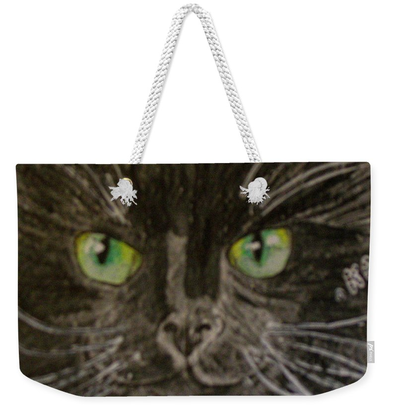 Halloween Weekender Tote Bag featuring the painting Halloween Black Cat I by Kathy Marrs Chandler