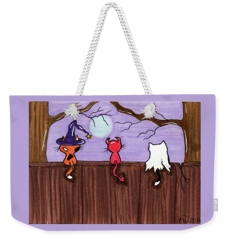 Classic Weekender Tote Bag featuring the painting Halloween Cat Costumes by Tambra Wilcox