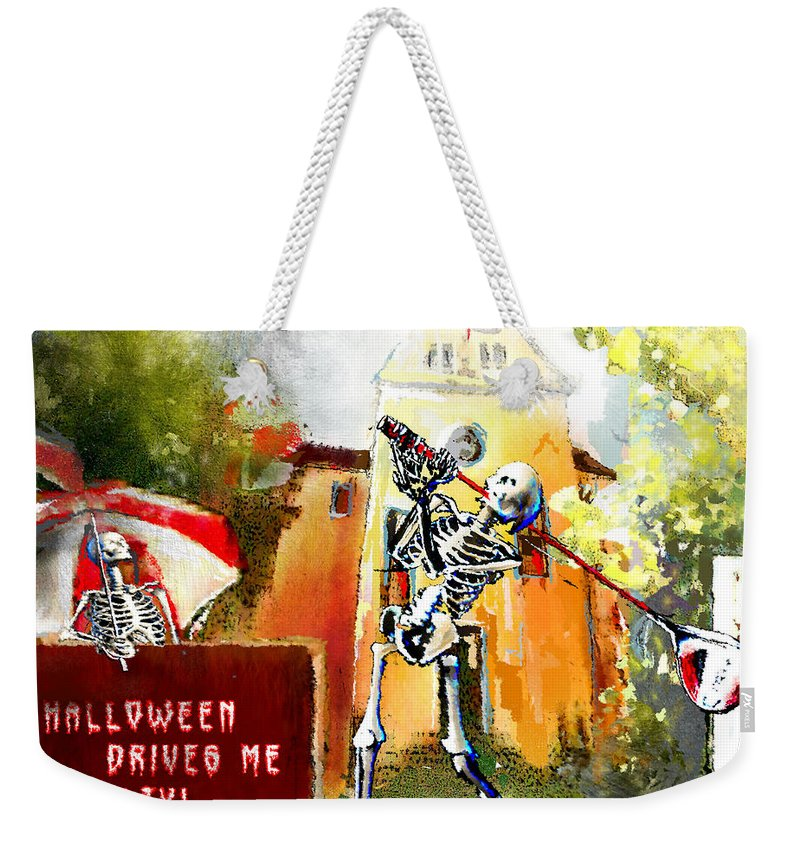 Fun Weekender Tote Bag featuring the painting Halloween Drives Me Crazy by Miki De Goodaboom