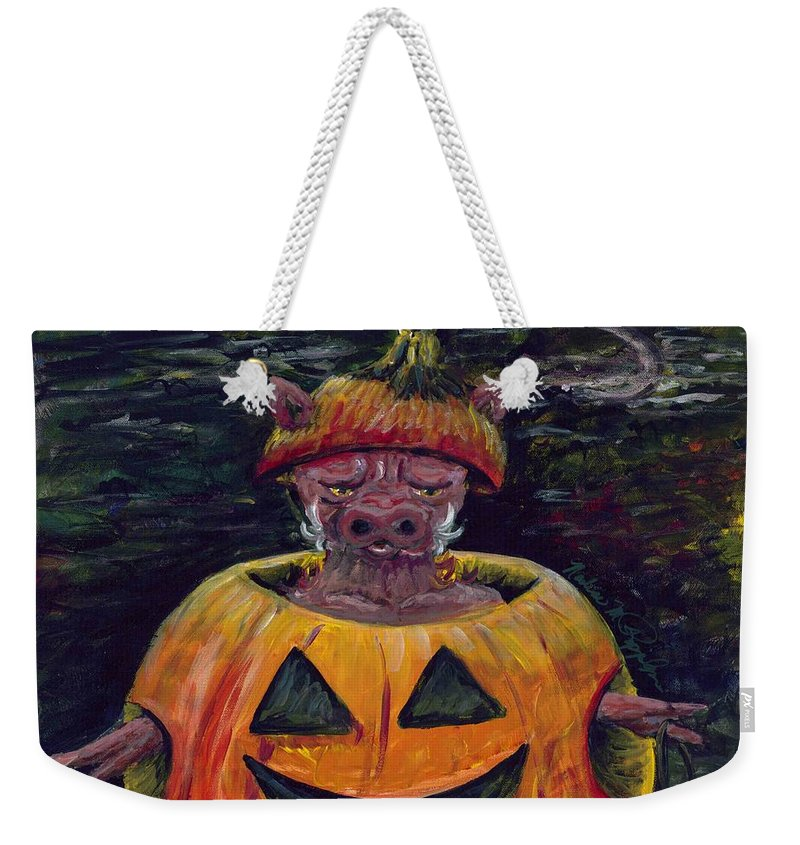 Halloween Weekender Tote Bag featuring the painting Halloween Hog by Nadine Rippelmeyer