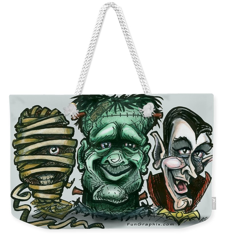 Halloween Weekender Tote Bag featuring the greeting card Halloween Monsters by Kevin Middleton