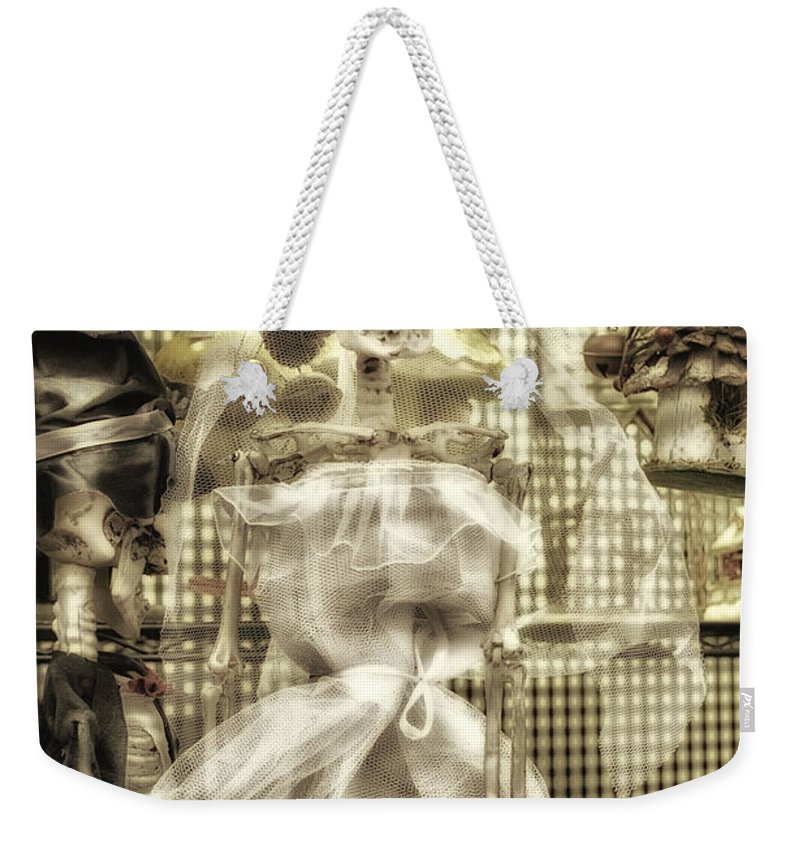 Halloween Ghost Weekender Tote Bag featuring the photograph Halloween Mrs Bones The Bride Vertical by Thomas Woolworth