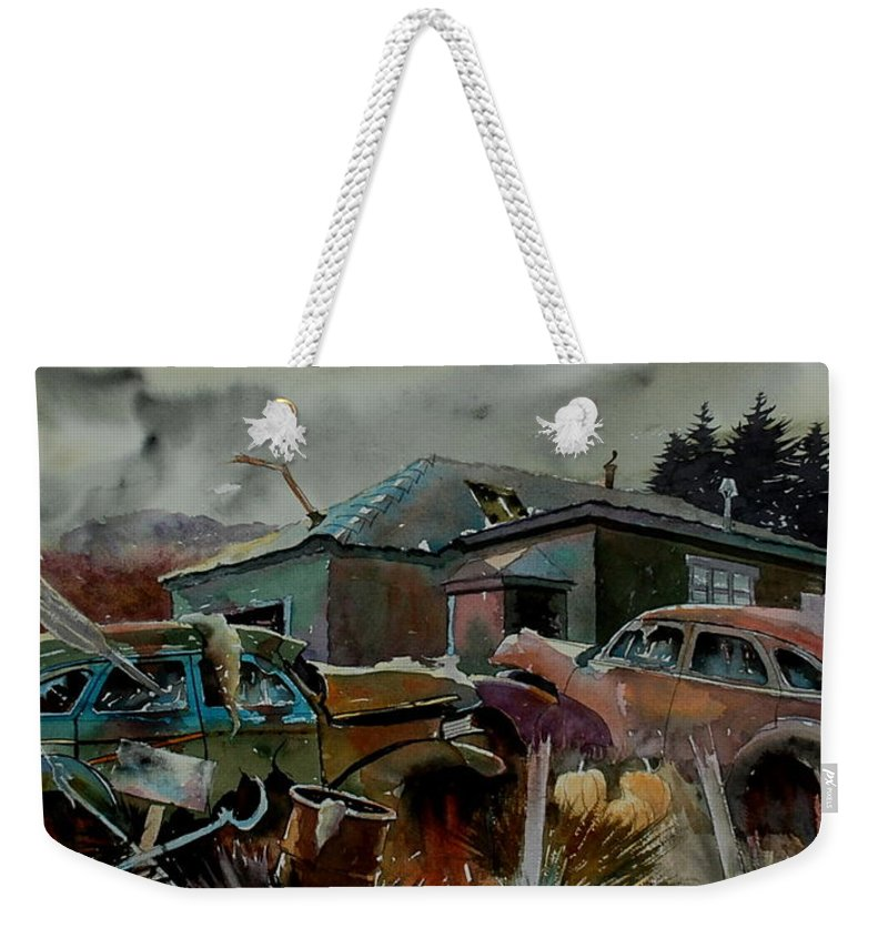 Cars Weekender Tote Bag featuring the painting Halloween On The Hill by Ron Morrison