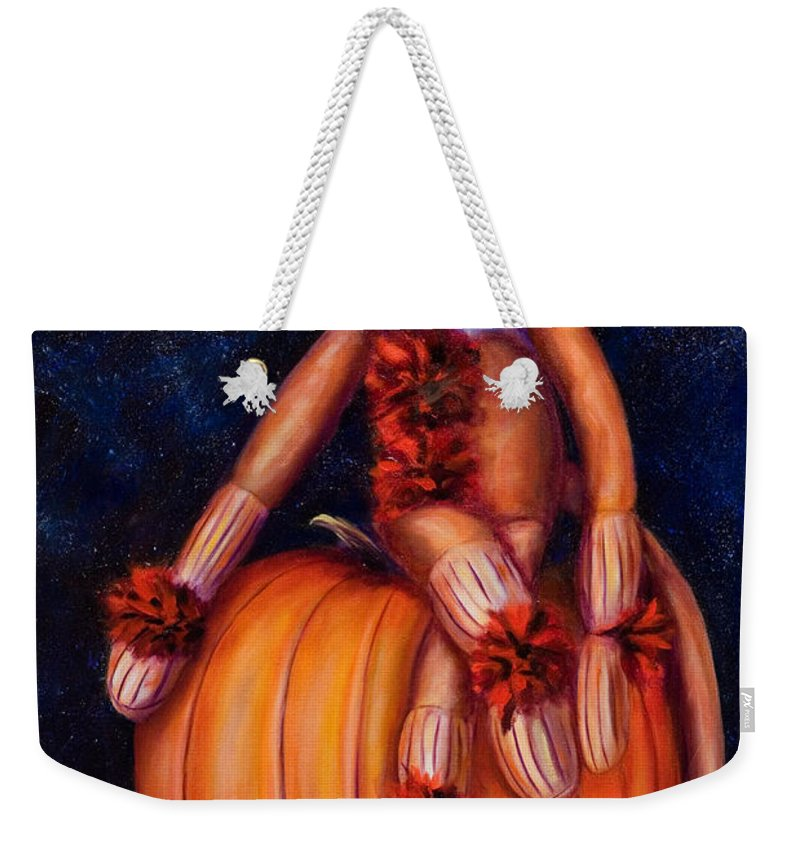 Pumpkin Weekender Tote Bag featuring the painting Halloween by Shannon Grissom