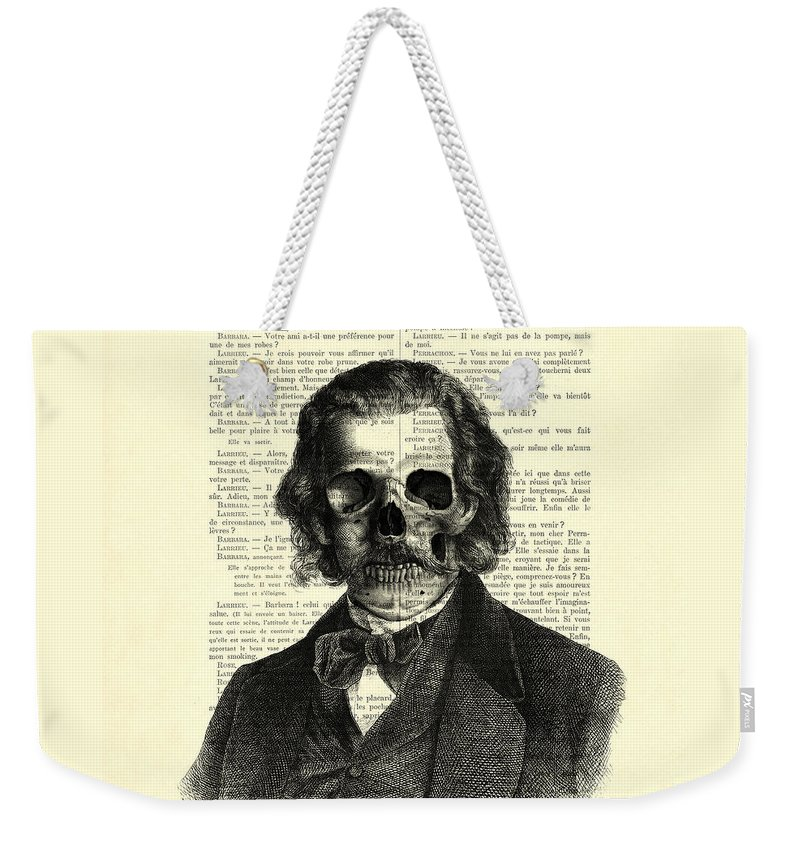 Skull Weekender Tote Bag featuring the digital art Halloween Skull Portrait In Black And White by Madame Memento