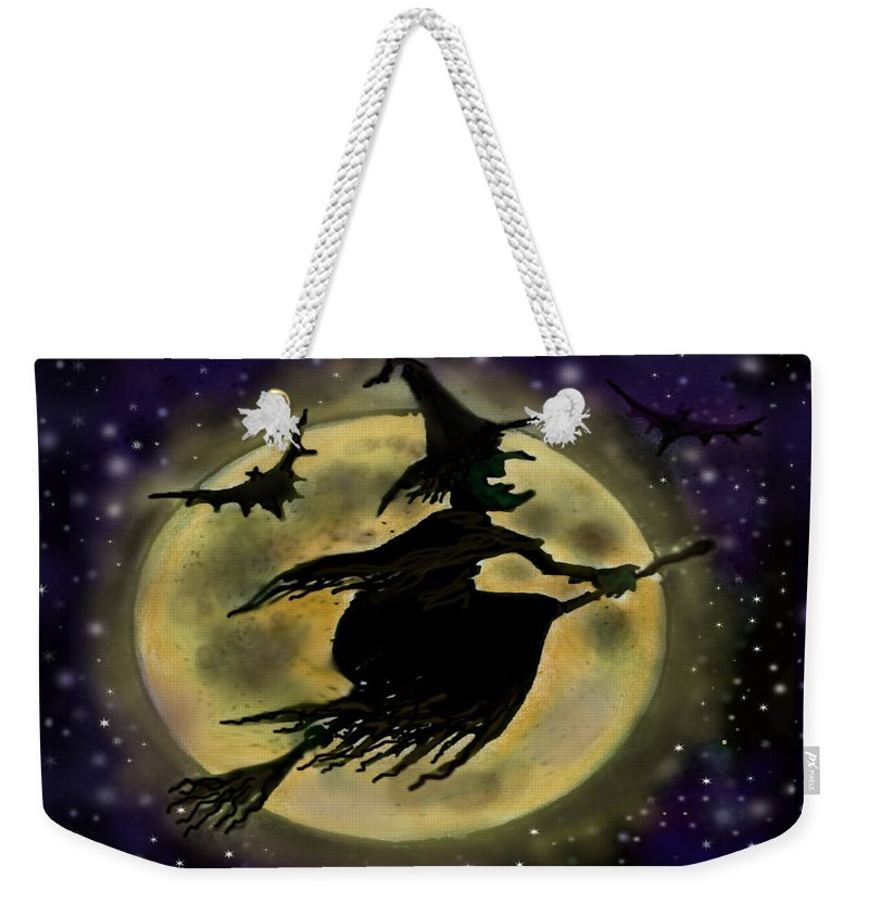 Halloween Weekender Tote Bag featuring the digital art Halloween Witch by Kevin Middleton