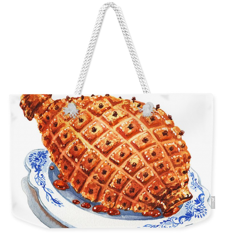 Ham Weekender Tote Bag featuring the photograph Ham On The Plate by Irina Sztukowski