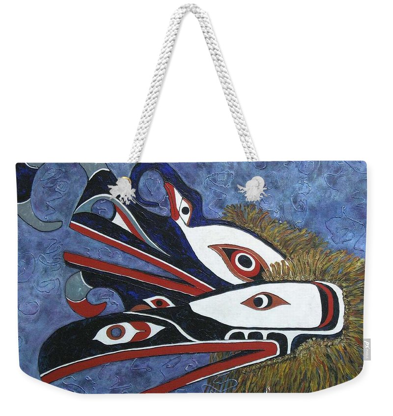 North West Native Weekender Tote Bag featuring the painting Hamatsa Masks by Elaine Booth-Kallweit