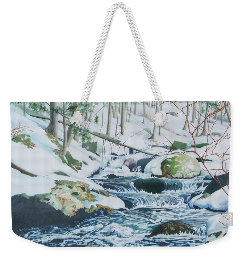 Snow Weekender Tote Bag featuring the mixed media Hamburg Mountain Stream by Constance Drescher
