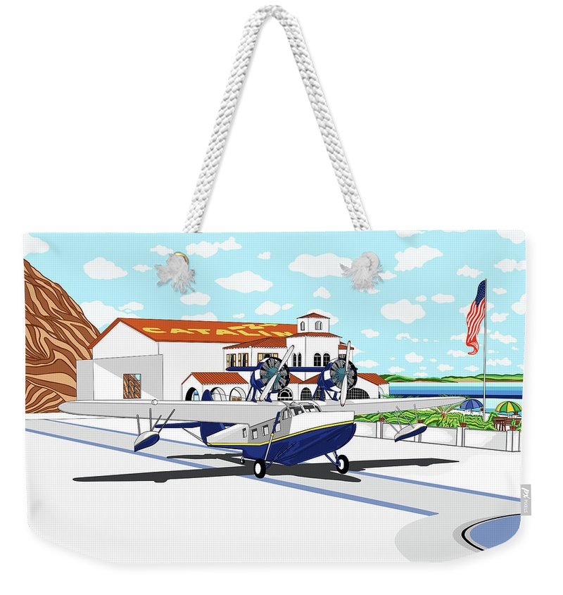 Seaplane Weekender Tote Bag featuring the digital art Hamilton Cove by Carlos Martinez