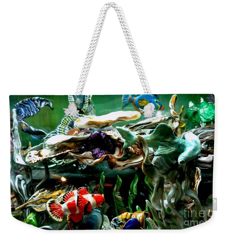 No Maintenance Aquariumn Blue Green Red Yellow Gold Silver Abstract Created Flower Color Colorful Eye-catching Abstract Created Coral Imagery Animated Aquatic Art Gold Silver Ocean Scene Sea Water Fish Art Weekender Tote Bag featuring the mixed media Hammerhead Shark Swimming Through New Abstract Coral by Kirk Wieland