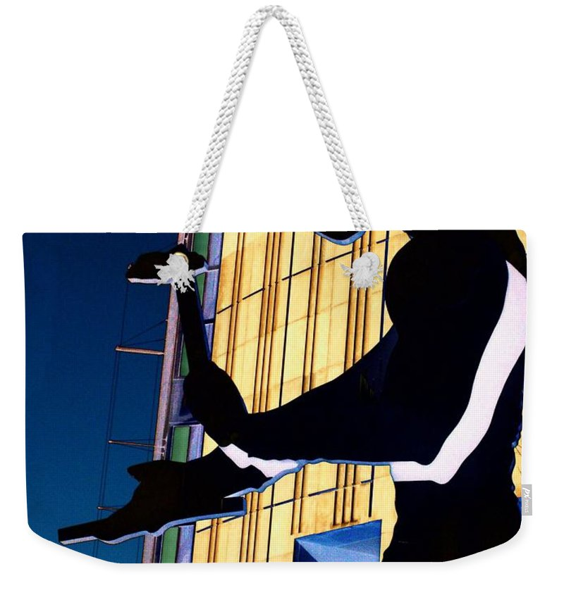 Seattle Weekender Tote Bag featuring the digital art Hammering Man by Tim Allen