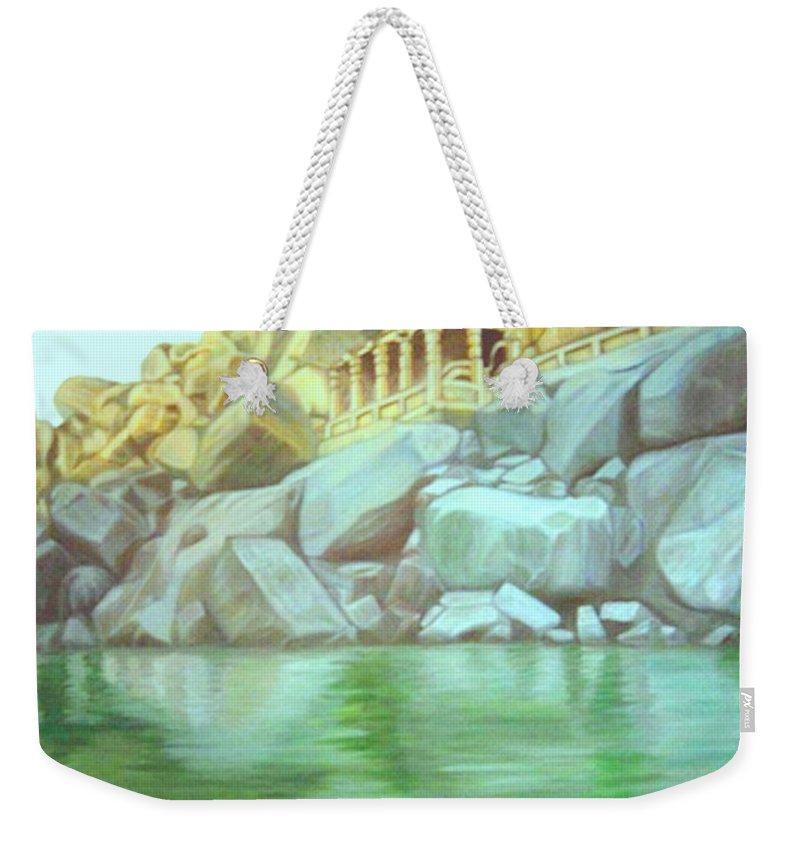 Hampi Weekender Tote Bag featuring the painting Hampi On Tungabadra 2 by Usha Shantharam
