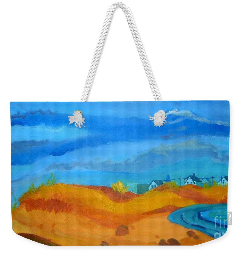 Ocean Weekender Tote Bag featuring the painting Hampton Dunes by Debra Bretton Robinson