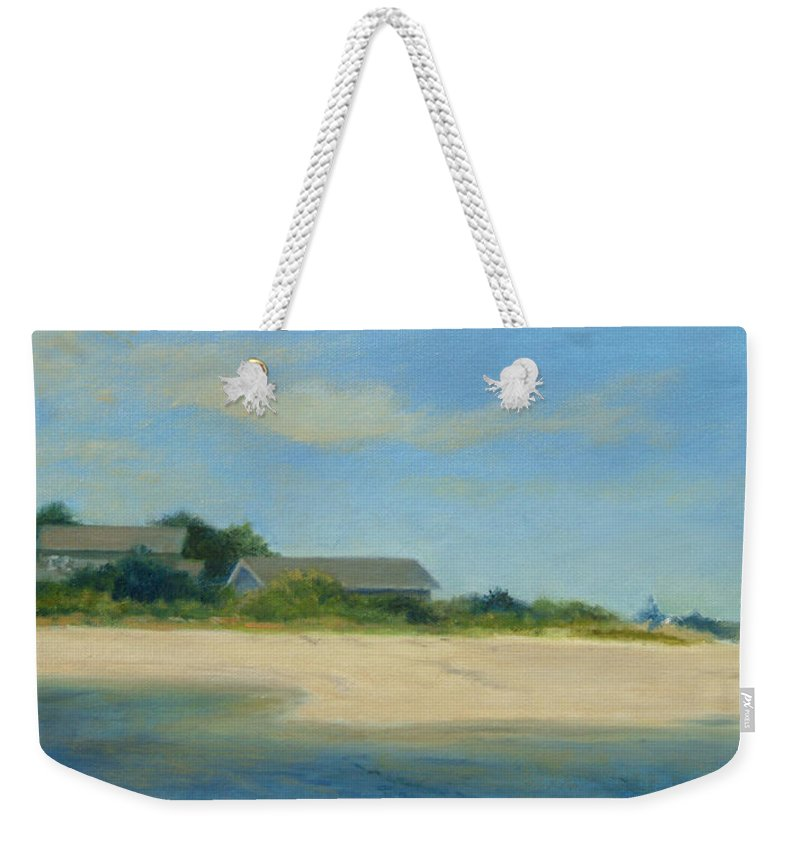 Landscape Weekender Tote Bag featuring the painting Hamptons Beach House by Phyllis Tarlow