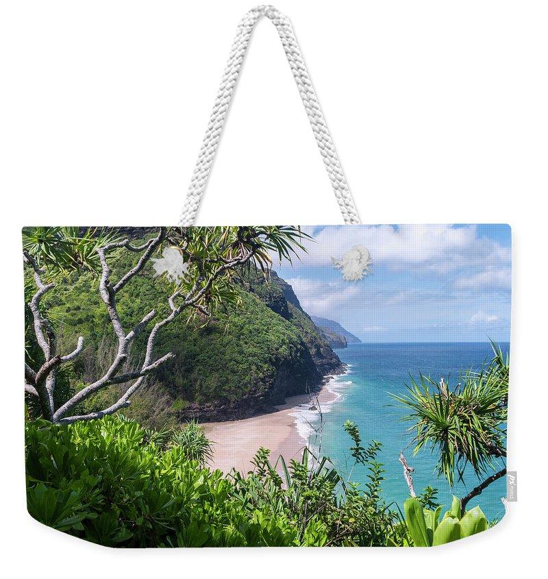 Na Pali Coast Weekender Tote Bag featuring the photograph Hanakapiai Beach by Brian Harig
