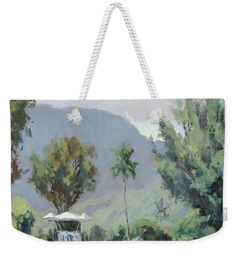 Kauai Weekender Tote Bag featuring the painting Hanalei Tower by Pierre Bouret