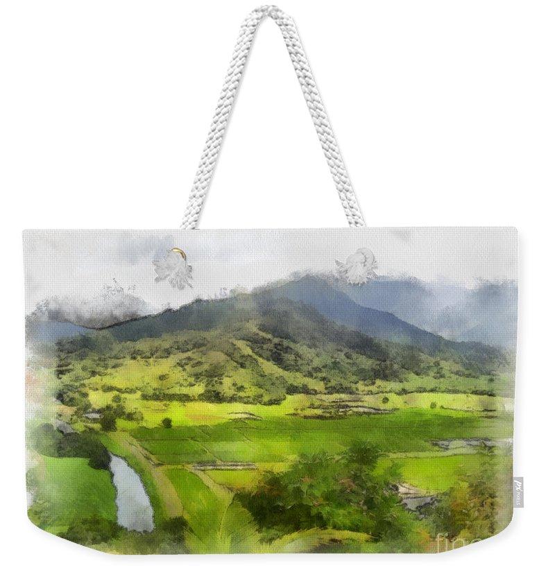 Hanalei Weekender Tote Bag featuring the painting Hanalei Valley by Paulette B Wright