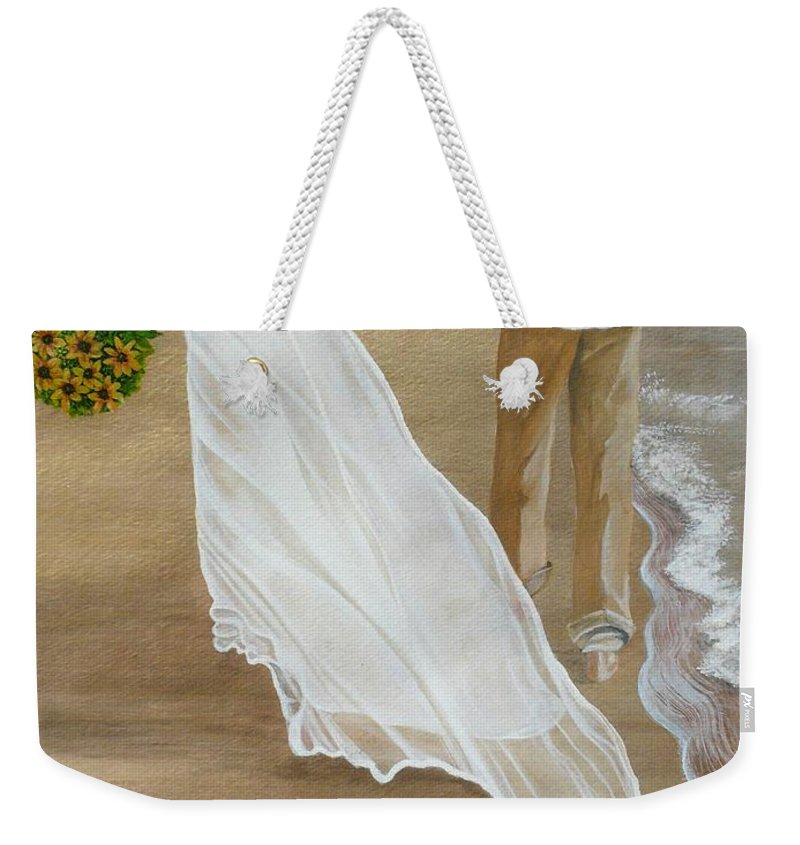 Bride And Groom Weekender Tote Bag featuring the painting Hand In Hand by Kris Crollard