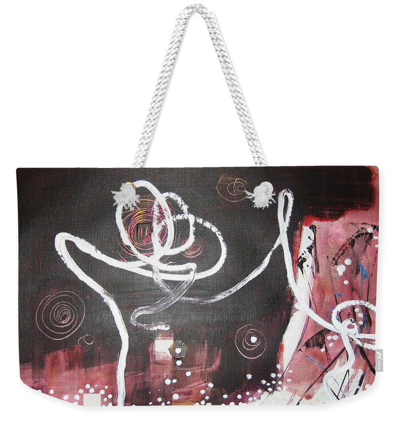 Abstract Paintings Weekender Tote Bag featuring the painting Hand In Hand2 by Seon-Jeong Kim