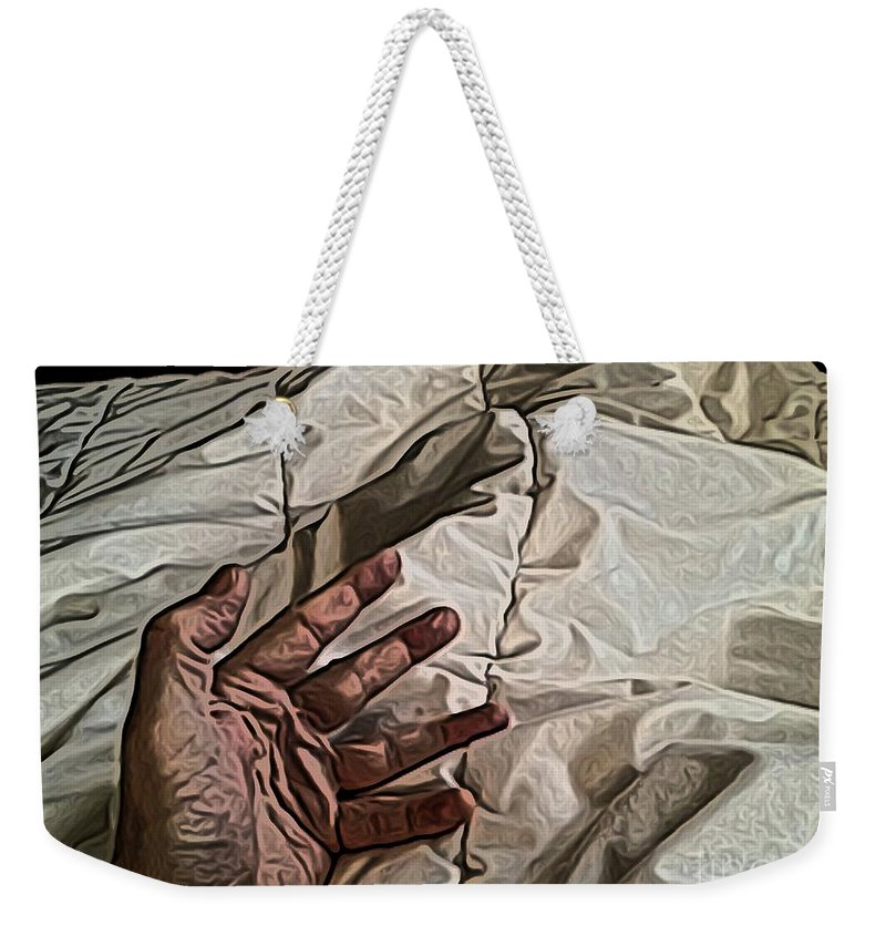 Hand Weekender Tote Bag featuring the digital art Hand On Comforter by Ron Bissett