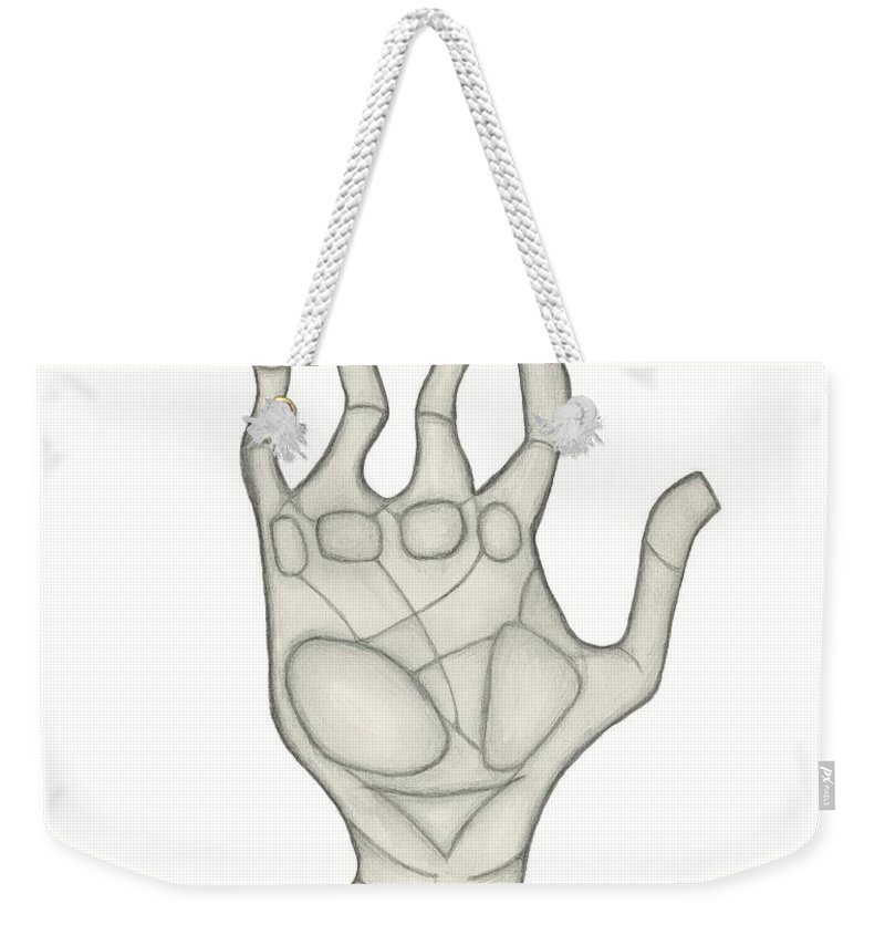 High Five Weekender Tote Bag featuring the drawing Hand by Sara Stevenson