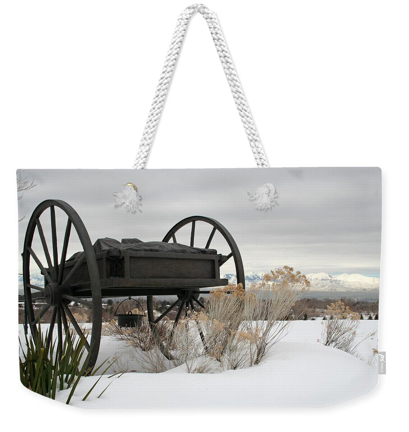 Handcart Weekender Tote Bag featuring the photograph Handcart Monument by Margie Wildblood
