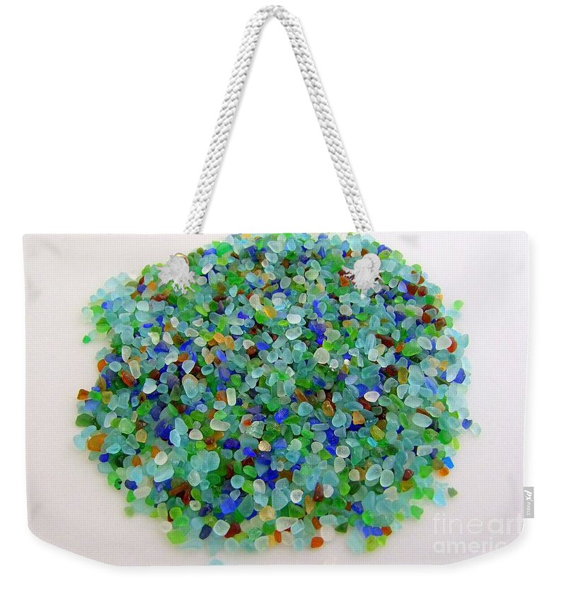 Red Weekender Tote Bag featuring the photograph Handful Of Sea Glass by Mary Deal