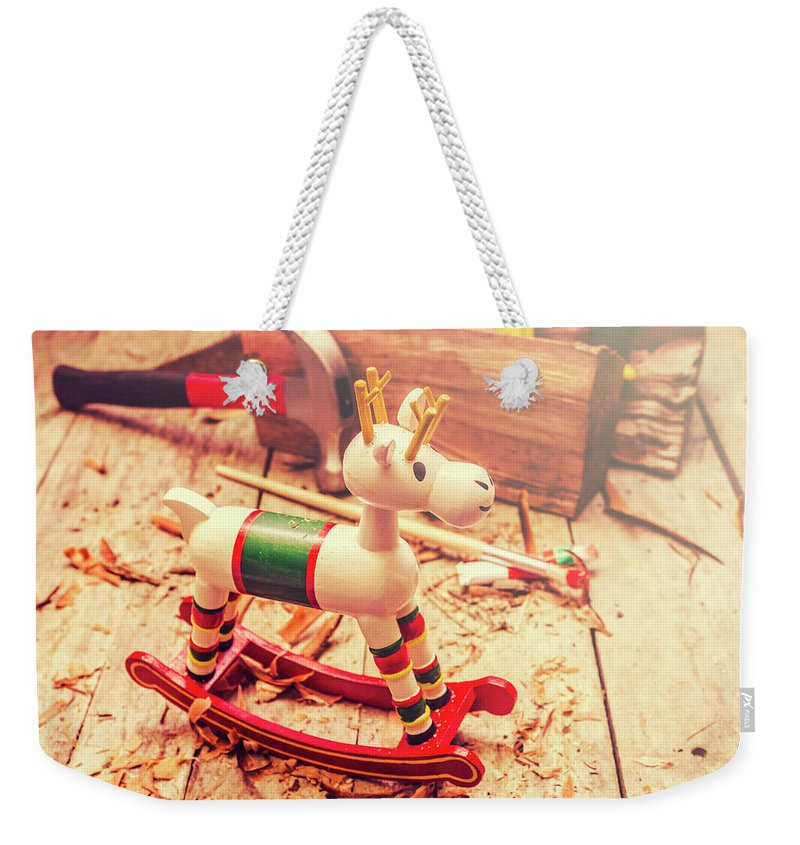 Rocking Weekender Tote Bag featuring the photograph Handmade Xmas Rocking Toy by Jorgo Photography - Wall Art Gallery