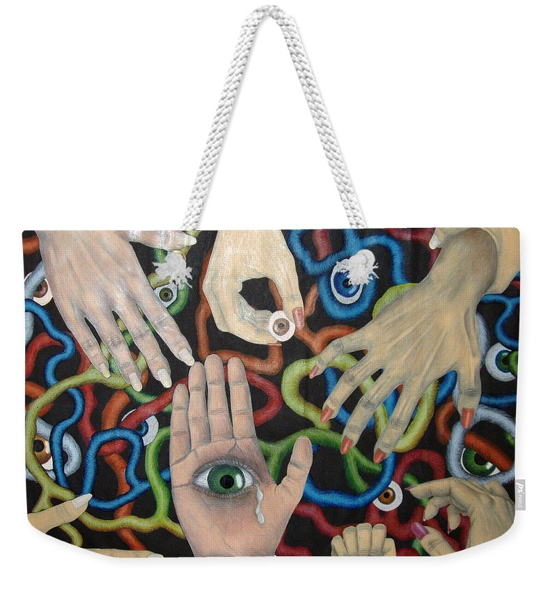 Collage Weekender Tote Bag featuring the drawing Hands And Eyes by Nancy Mueller