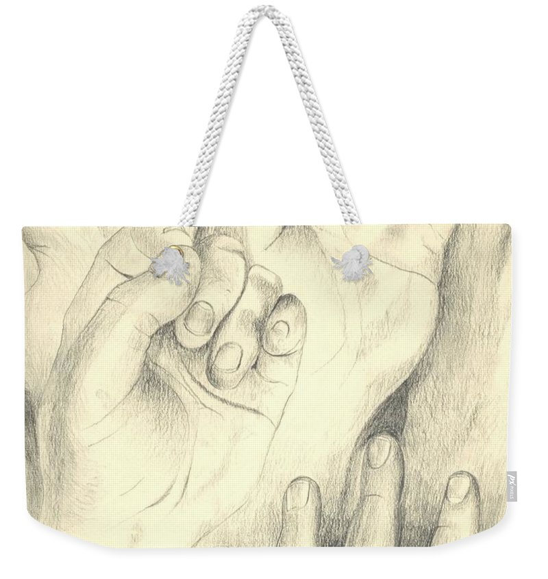 Hands Weekender Tote Bag featuring the drawing Hands by Helena Tiainen