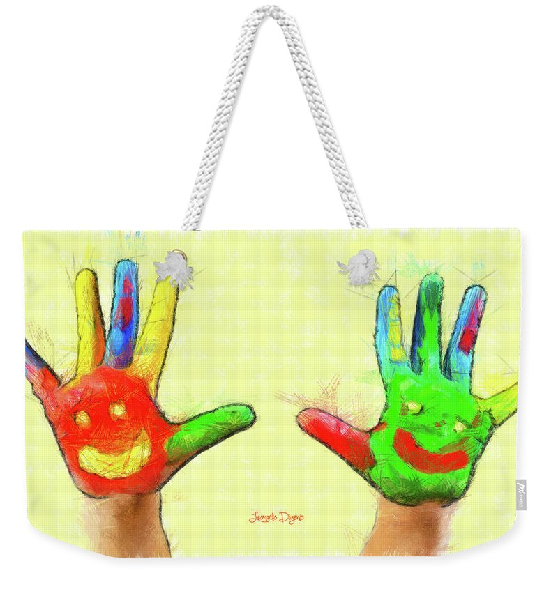 Colorful Weekender Tote Bag featuring the painting Hands In Art by Leonardo Digenio
