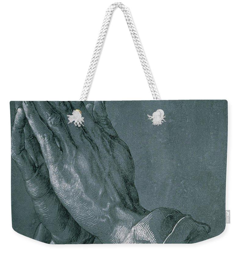 Hands Of An Apostle Weekender Tote Bag featuring the drawing Hands of an Apostle by Albrecht Durer