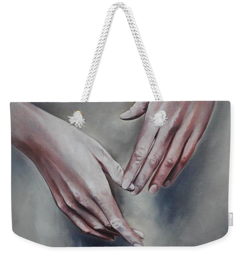 Hands Weekender Tote Bag featuring the painting Hands Study by Rebecca Tecla