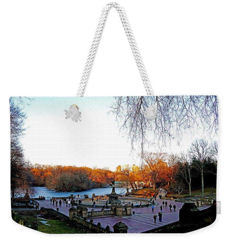Monument Weekender Tote Bag featuring the photograph Hangin' At Bethesda Fountain by Kendall Eutemey