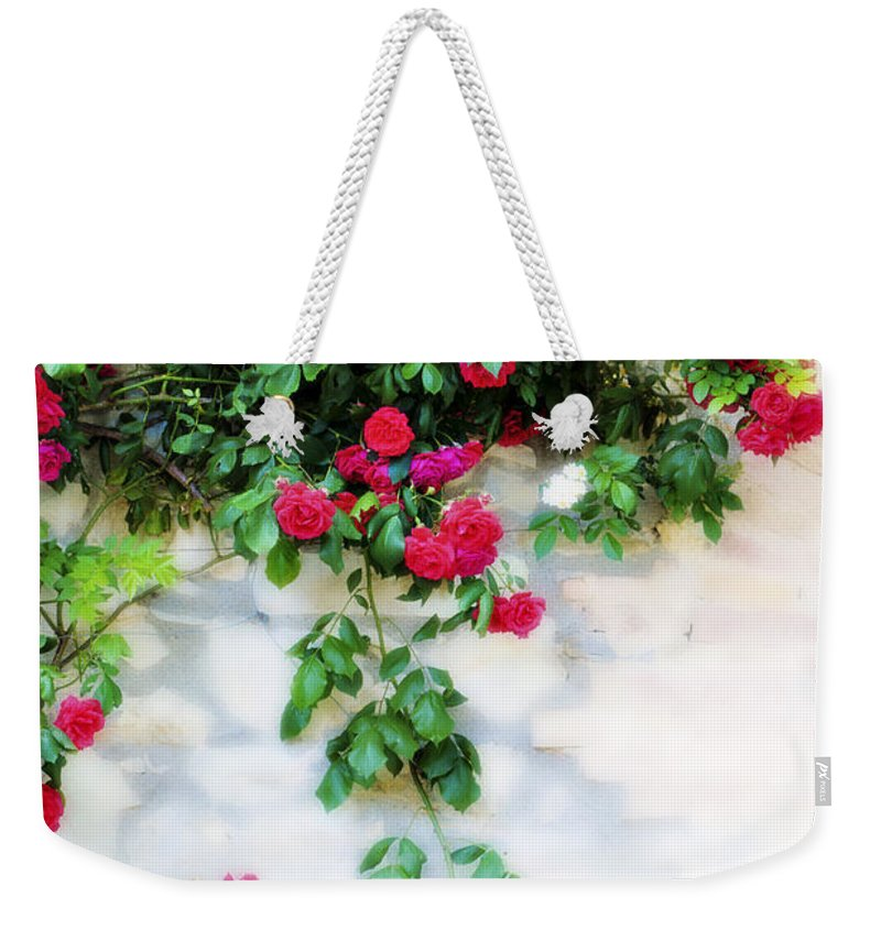 Hang Weekender Tote Bag featuring the photograph Hangin Roses by Marilyn Hunt