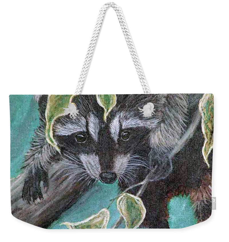 Raccoon Hanging In A Tree Weekender Tote Bag featuring the painting Hanging Around by Nick Gustafson