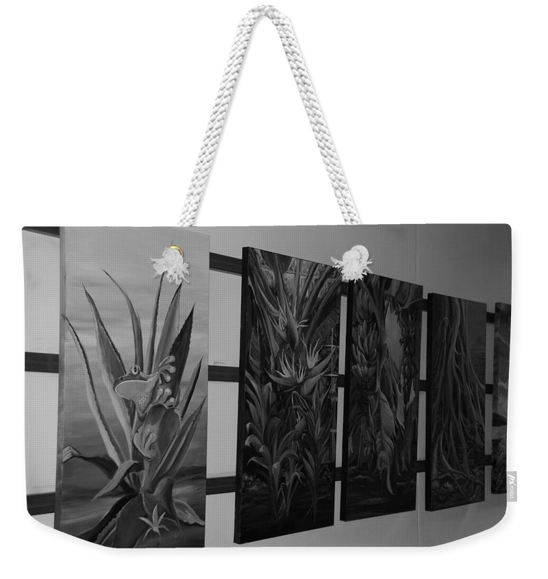 Black And White Weekender Tote Bag featuring the photograph Hanging Art by Rob Hans