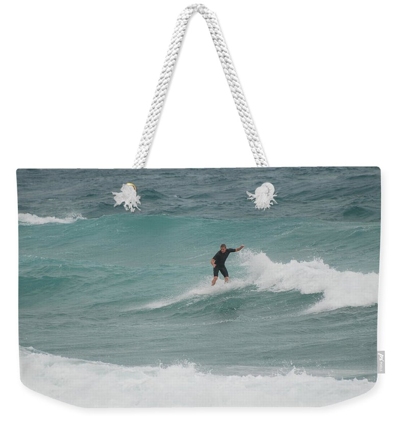 Water Weekender Tote Bag featuring the photograph Hanging Ten by Rob Hans