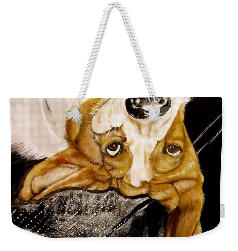 Basset Hound Print Weekender Tote Bag featuring the painting Hanging With Hazel by Carol Blackhurst