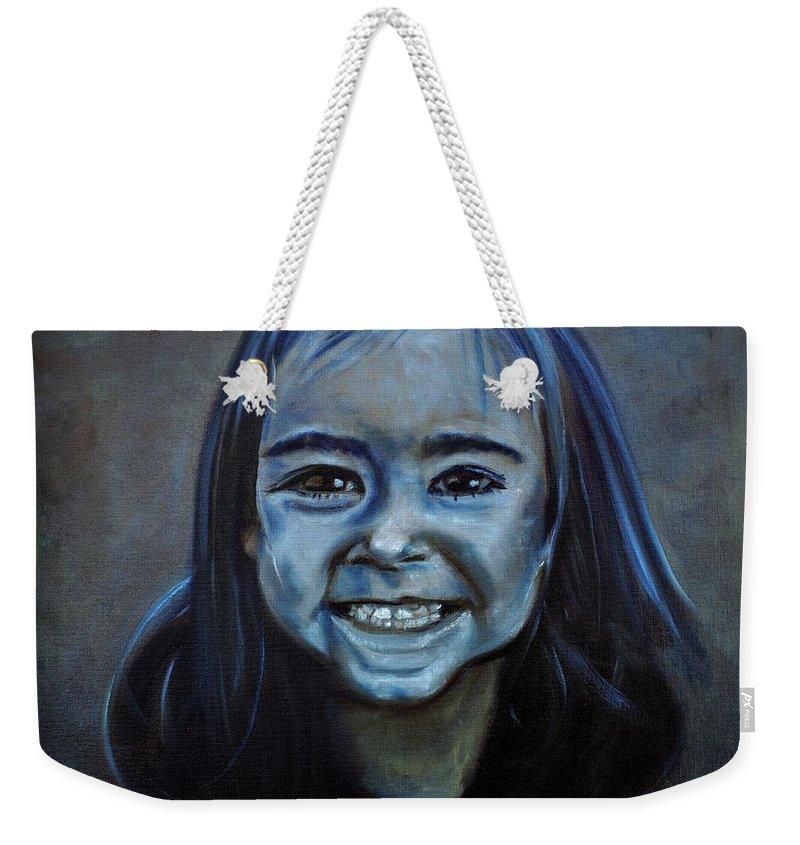 Granddaughter Weekender Tote Bag featuring the painting Hannah by Ruben Barbosa