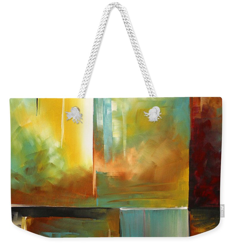Abstract Weekender Tote Bag featuring the painting Haphazardous II By Madart by Megan Duncanson